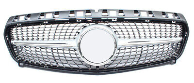 Mercedes Benz A-Klasse W176 12-15 Silber & Chrom Grill Gitter Diamant AMG Look