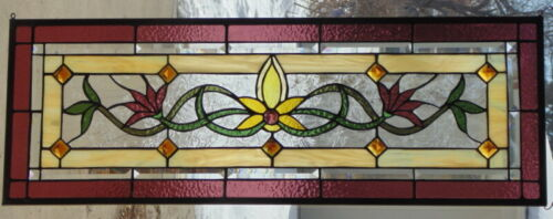 Stained Glass Transom window hanging 35 1/4 X 12 1/2  Brass frame (edging)
