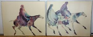 Set of Two ABSTRACT HORSE RIDERS Wall Art