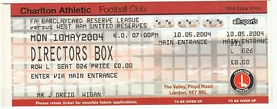 Ticket - Charlton Athletic Reserves v West Ham United Reserves 10.05.04
