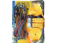 BUNGEE CORD SET --12 PC TIE DOWN AND BUNGEE CORD SET - PRICE IS FOR 2 PACKS