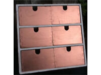 Wooden drawer unit painted white/copper