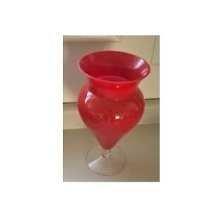 Flamming Red and Clear Glass Footed Flower Vase