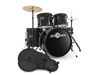 Full Size Starter Drum Kit + Practice Pads - excellent condition