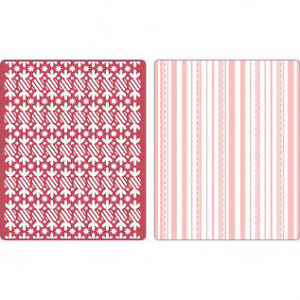 Sizzix 2-Pk A2 PEPPERMINT TWISTS & SCALLOP emboss-$12