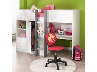 High sleeper with built in shelves, draws and wardrobe