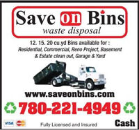 Low Cost Waste Removal, Save On Bins inc. 780-221-4949