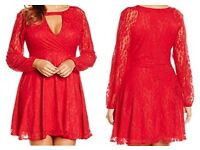 Boohoo red lace dress- Size 22