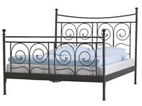 IKEA Black Iron Effect Double Bed Frame