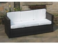 Brand New and Boxed Dark Brown All Weather Rattan Steel Framed Sofa with White Cushions