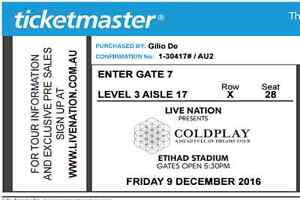 Coldplay Tickets for sale (x2) Etihad Stadium Dec 9 2016 Adelaide CBD Adelaide City Preview