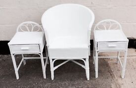 Vintage 1950's White Lloyd Loom bedside tables and chair