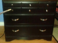 BLack WOOD DRESSER /STORAGE FOR DORMS/ APT / BASEMENT / RENTALS