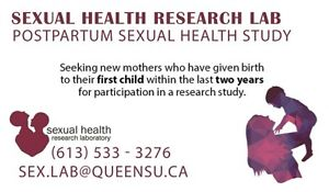 NEW MOMS NEEDED FOR STUDY AT QUEEN'S - COMPENSATION PROVIDED!