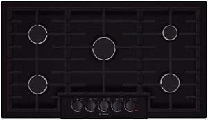 Plaque de cuisson au gaz de 36'', 5 brûleurs, noire, Bosch