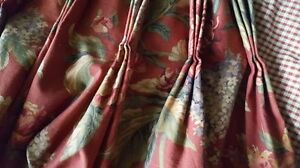 Custom Pair of Fabric Pinch Pleat Blackout Drapes / Curtains