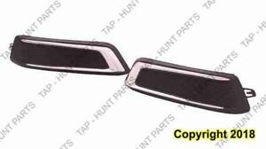 Fog Lamp Cover Front Passenger Side Matt-Black With Chrome Moudling Without Daytime Running Light Chevrolet Impala 2014-