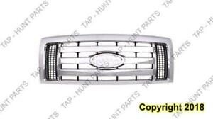 Grille Xlt Chrome Frame 3 Chrome Bars  Ford F150 2009-2012