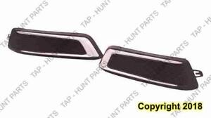 Fog Lamp Cover Front Driver Side Matt-Black With Chrome Moudling Without Daytime Running Light Chevrolet Impala 2014-201