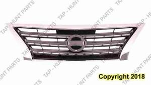 Grille Painted Dark Silver/Black With Chrome Moulding Sport Type Nissan SENTRA 2013-2015