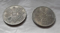 2 English Crowns minted for the Coronation of Queen Elizabeth II