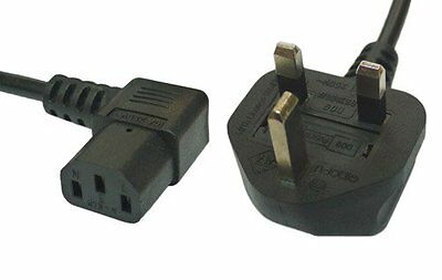 2m Black Mains Power Cable 90 Degree Right Angled Kettle Type IEC 320 C13 Socket