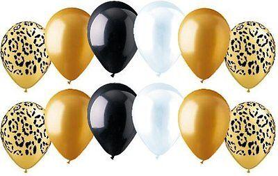 12 pc Leopard Wild Safari Inspired Latex Balloon Party Decoration Gold