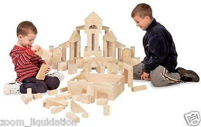 Wooden Building Blocks 60 Piece Set Wood Block Kids Toy Educational Childs Play