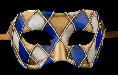 Mask from Venice Colombine Checkerboard Blue Paper Mache -Doré- 2315 -VG3F