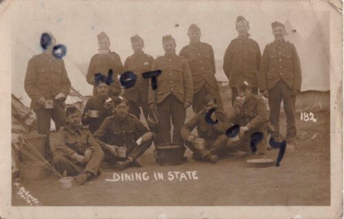 WW1 soldier group Black Watch in tented camp Tarn photographer