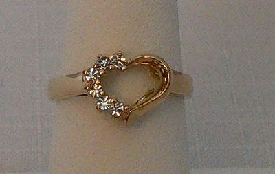 Park Lane Retired Booking Open Heart Ring w/Austrian Crystals - Pretty!  Size 7 Austrian Crystal Heart Ring