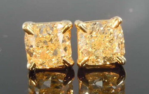 1.00ctw Natural Cushion Fancy Light Yellow Stud Earrings - GIA Certified