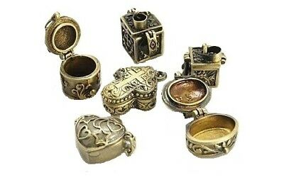 Wholesale Lot 12 Prayer Poison Pill Box Pendants Charms Mixed Antiqued Gold Tone