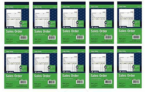 (10 Pack) Adams Sales Order Book, 3-Part, Carbonless, (TC4705)