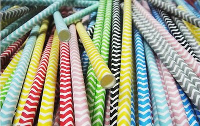 Paper Drinking Straws (25 Paper Straws Colorful Chevron Striped Drinking Straw Party Wedding)