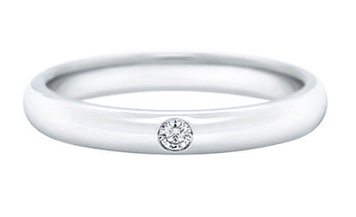 3mm 18K Solid White Gold 0.03 ct Diamond Wedding Anniversary Band Ring Size 7