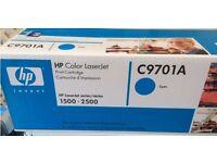 GENUINE HP Color Laserjet Printer CYAN Toner Cartridge (C9701A) Sealed in box