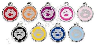 Red Dingo Fish Bowl Enamel/Solid Stainless Steel Engraved ID Cat Tag