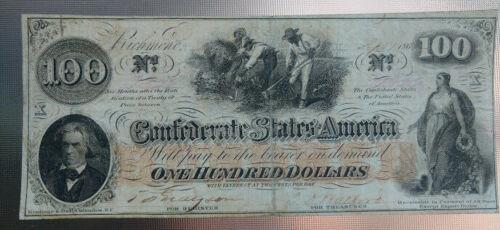 $100  1862 Confederate $100. note T-41