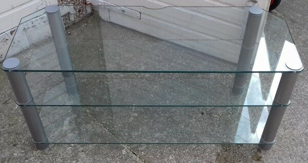 Large Glass TV Stand Clear Glass