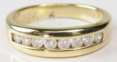 Gents 14K Yellow Gold 1/2 CTTW Diamond Wedding Anniversary Band Estate Ring Gents Diamond Wedding Ring