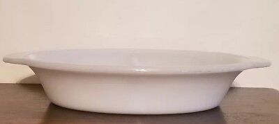 Fireking ~ White Glass ~ 2 Section ~ Oval Baking Dish ~ 8.5