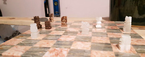 Chess board (marble) with Aztec pieces