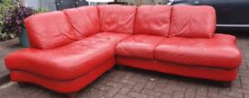 DELIVERY good condition genuine lipstick red leather corner sofa
