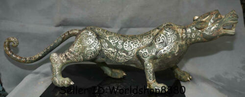 """28"""" Antique Old Chinese Bronze Silver Ware leopard panther Beast Animal Statue"""