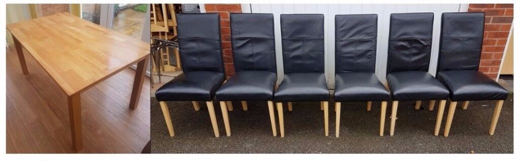Solid Oak Table 150cm & 6 Black Real Leather Chairs FREE DELIVERY 092