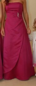 womans bridesmaid dress in fuschia pink, size 10