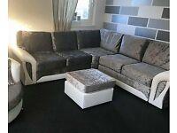 NEW Scs Glitz corner sofa with FREE FOOTSTOOL
