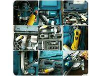 Job lot ex carpenter 9 tools with cases 110v + lead only £550 (makita, bosh, dewalt, trend)