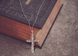 SNZM Rose & Cross Necklace, White/Rose Gold Plated Pendant